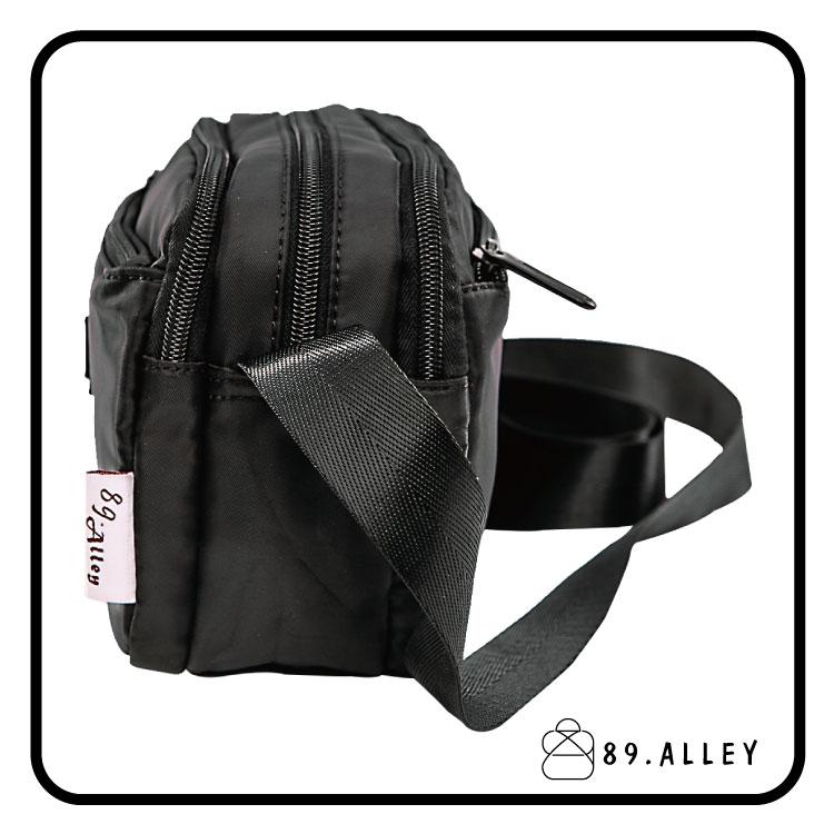 側背包 女包男包 黑色系防水包 輕量尼龍鐵牌雙層情侶斜背包 89.Alley 3