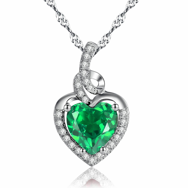 Mabellajewelry rakuten mabella sterling silver simulated mabella sterling silver simulated emerald heart pendant necklace gifts for women18 0 aloadofball Images