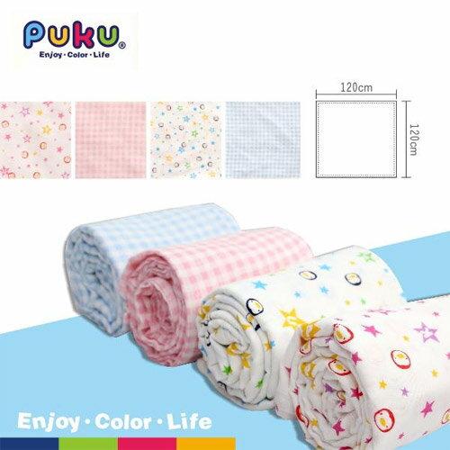 【奇買親子購物網】PUKU藍色企鵝透氣紗布包巾被2入(水色粉色)