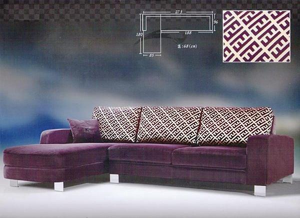 【尚品家具】207-01 帝芬尼紫色全拆式L型絨布沙發組《台中市部分地區免運費》