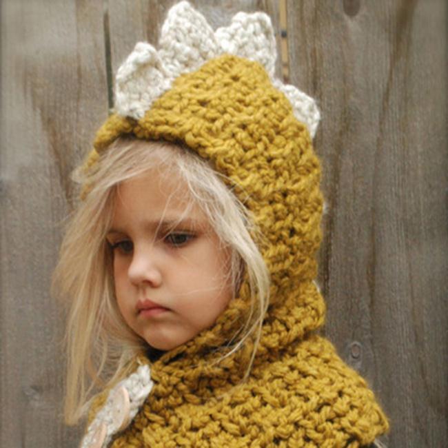 50%OFF【E018833WH】秋冬兒童恐龍毛線帽加厚保暖護耳圍脖針織帽套頭披肩斗篷寶寶 - 限時優惠好康折扣