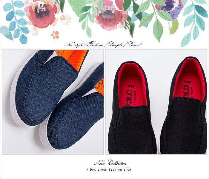 ★399免運★格子舖*【ABP-8027】MIT台灣製 型男簡約時尚 鬆緊帆布休閒鞋 懶人鞋 黑色/藍色 2色 1