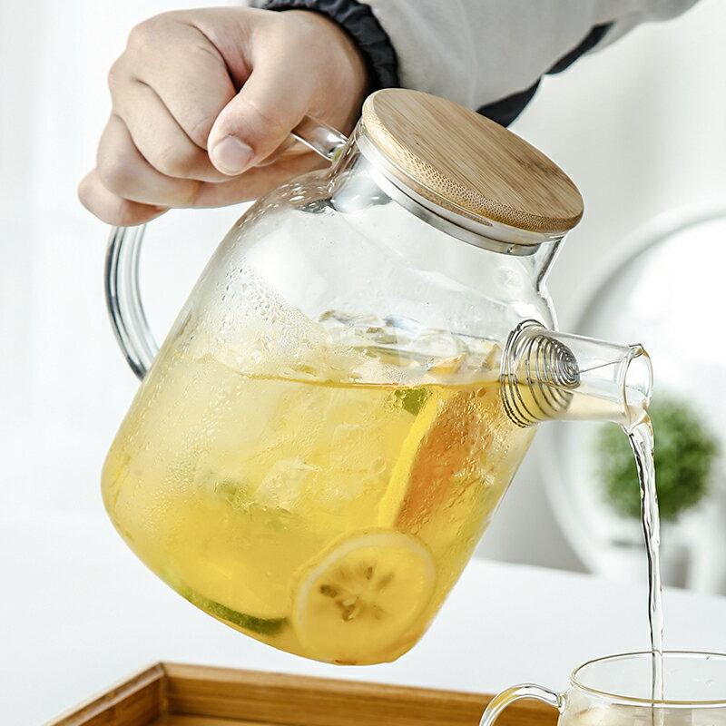玻璃冷水壺家用耐熱高溫泡茶壺水杯套裝日式扎壺大容量防爆涼水壺
