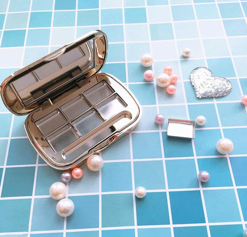 眼影空盒 分裝盒 DIY高檔口紅化妝品手工眼影分裝盒試色空盒壓盤帶鏡小樣彩妝空盤
