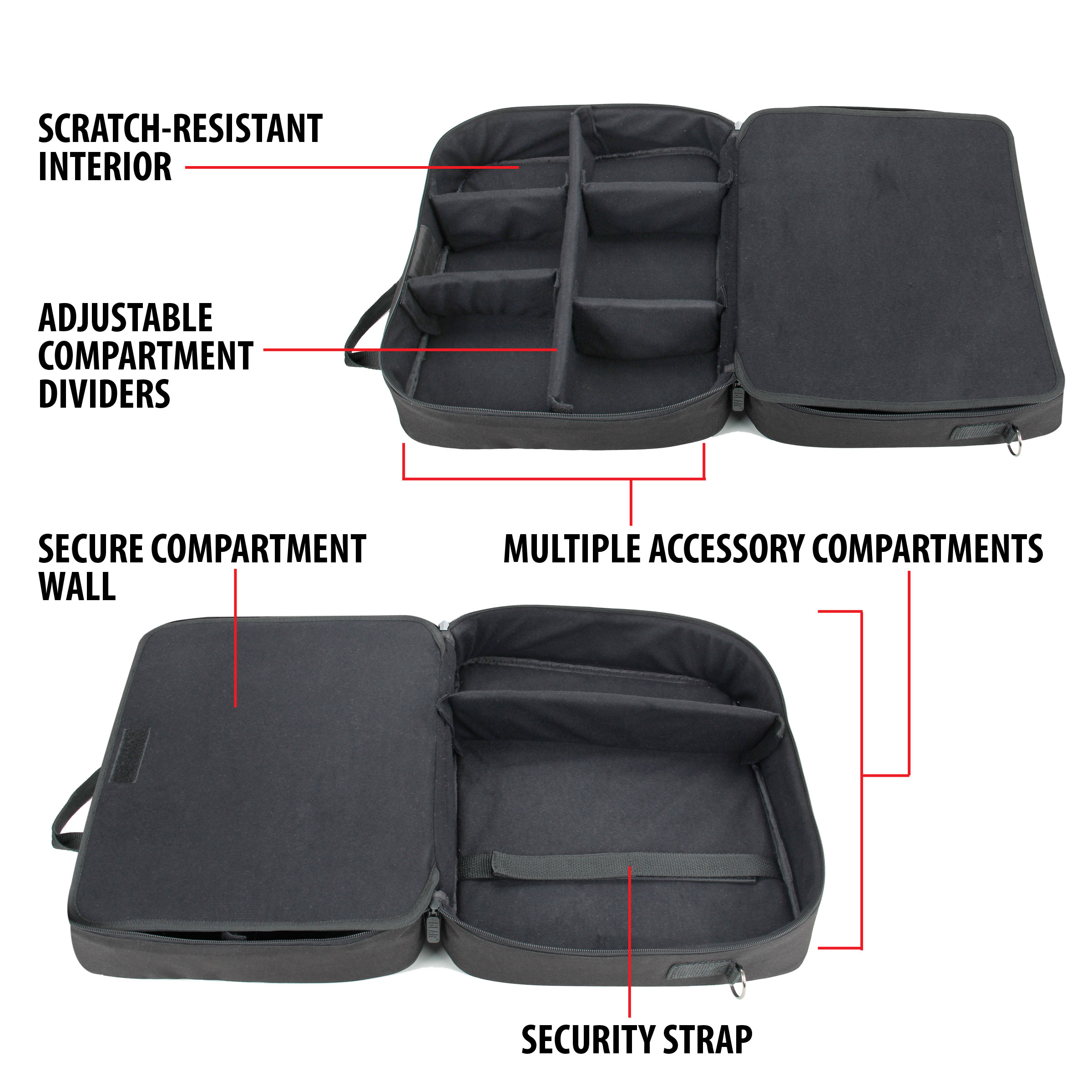 USA Gear Toughbook Travel Case w/Carrying Strap , Scratch-Resistant Lining & Adjustable Compartments 3