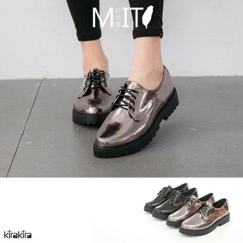 牛津鞋 MIT復古雅痞漆皮綁帶低跟鞋-預購