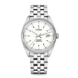 TITONI瑞士梅花錶 宇宙系列 878S-606 新穎鋸齒風格腕錶/銀 41mm