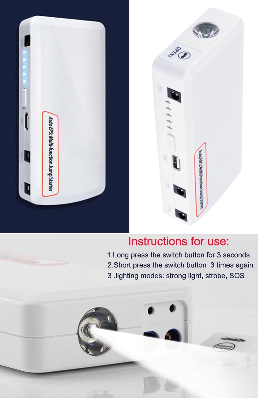 15000mAh Jump Starter Car Battery Charger Mini Power Bank LED Light 12V White 4