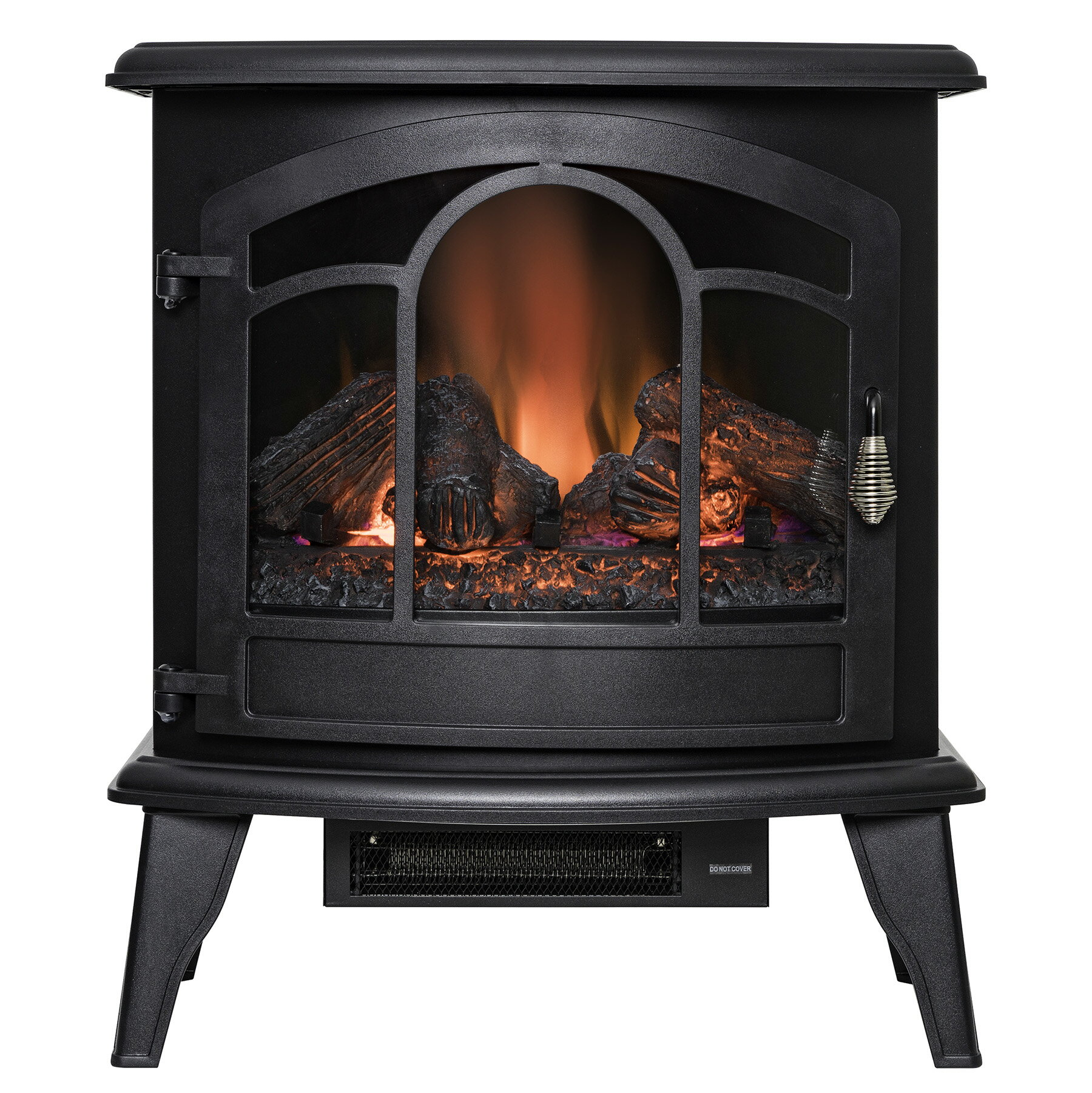 "AKDY 20"" Black Finish Freestanding Portable Electric Fireplace Firebox w/ Logs & Remote 0"