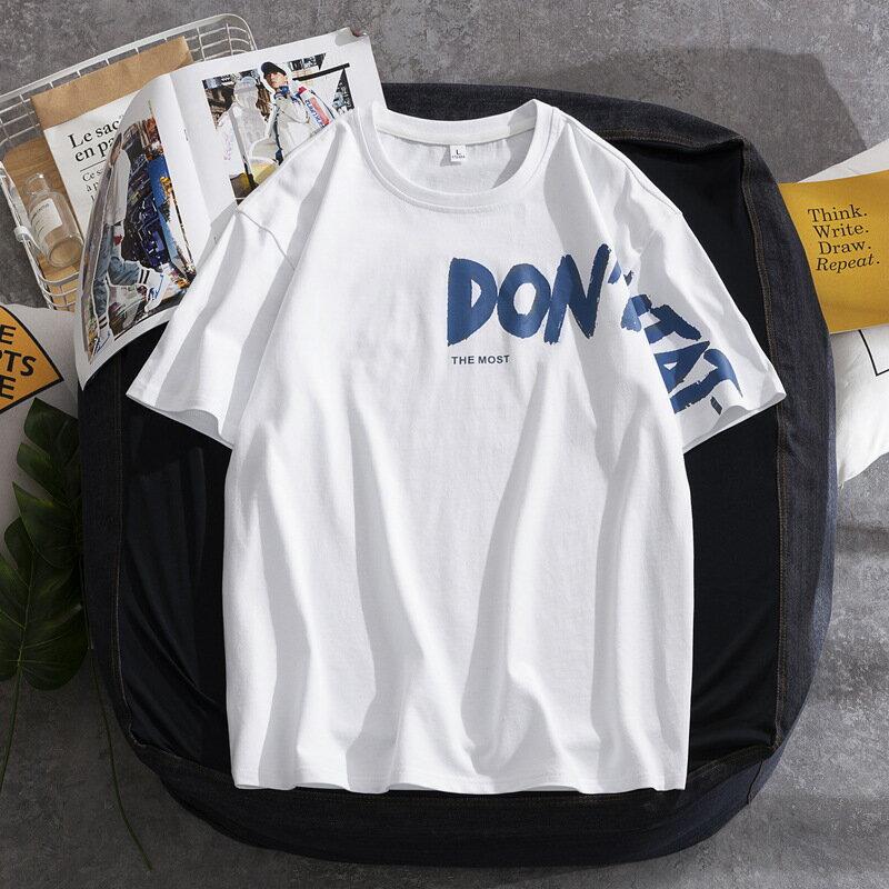 男裝短袖T恤夏季新款韓版學生情侶裝印花圓領半袖體恤純棉打底衫