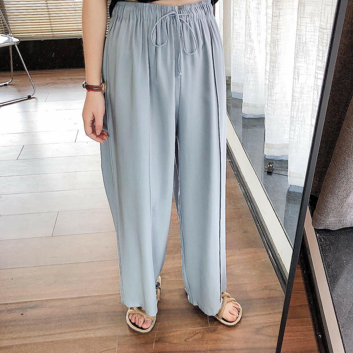 韓版高腰垂感寬鬆顯瘦純色系帶休閒直筒闊腿長褲子女