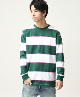 橫條紋T恤綠色