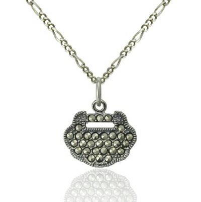 925純銀項鍊 如意鎖泰銀吊墜~復古中國風簡單百搭生日情人節 女飾品73dg18~ ~~米