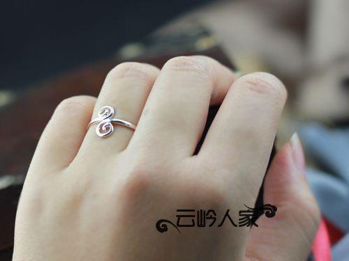 銀飾 女 飾品 簡約開口 銀戒指 尾戒 緊箍咒