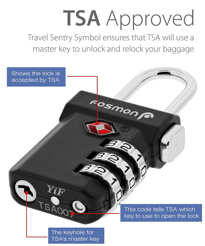 Fosmon Open Alert Indicator TSA Approved 3 Digit Combination Luggage Lock -  Black