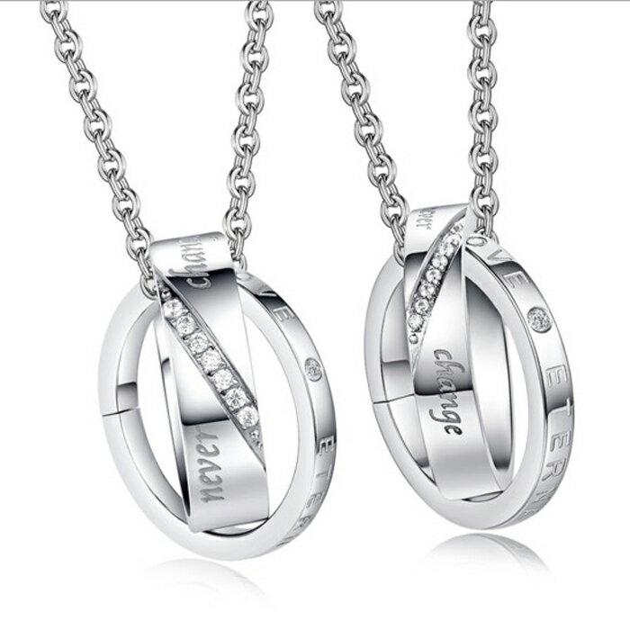 糖衣子輕鬆購~DZ0308~ 簡約鑲鑽鈦鋼情侶項鍊對鍊飾品情人節