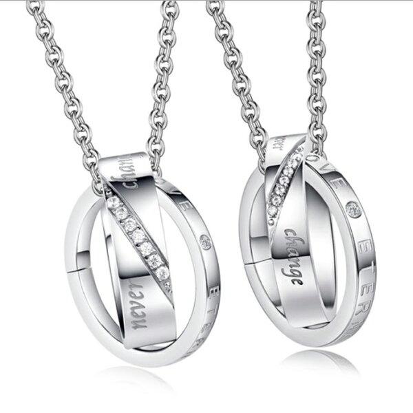 糖衣子輕鬆購【DZ0308】創意簡約鑲鑽鈦鋼情侶項鍊對鍊飾品情人節禮物