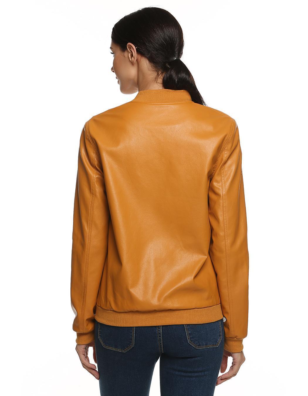 Women Casual Zipper Synthetic Leather Biker Jacket Coat 4
