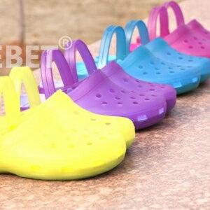 美麗大街【BF015E21】SAFEBET正品洞洞鞋 水晶涼拖變色女鞋 沙灘鞋 雨鞋
