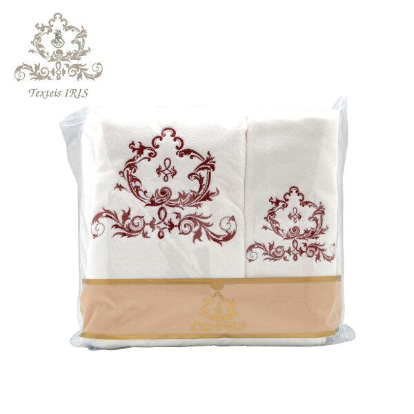 葡萄牙TexteisIRIS頂級棉製毛巾浴巾三件組(白底棗紅色繡花)