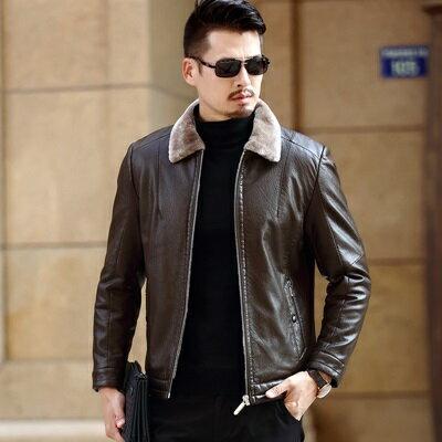 皮衣夾克外套-翻領皮毛一體加厚男夾克3色73pn6【獨家進口】【米蘭精品】 1