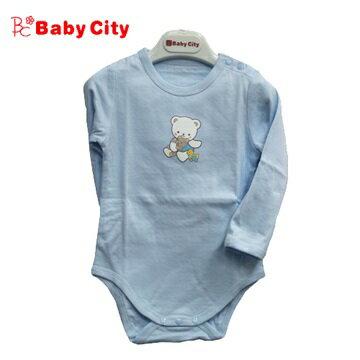 台灣【Baby City】快乾棉長肩開上衣(藍) - 限時優惠好康折扣