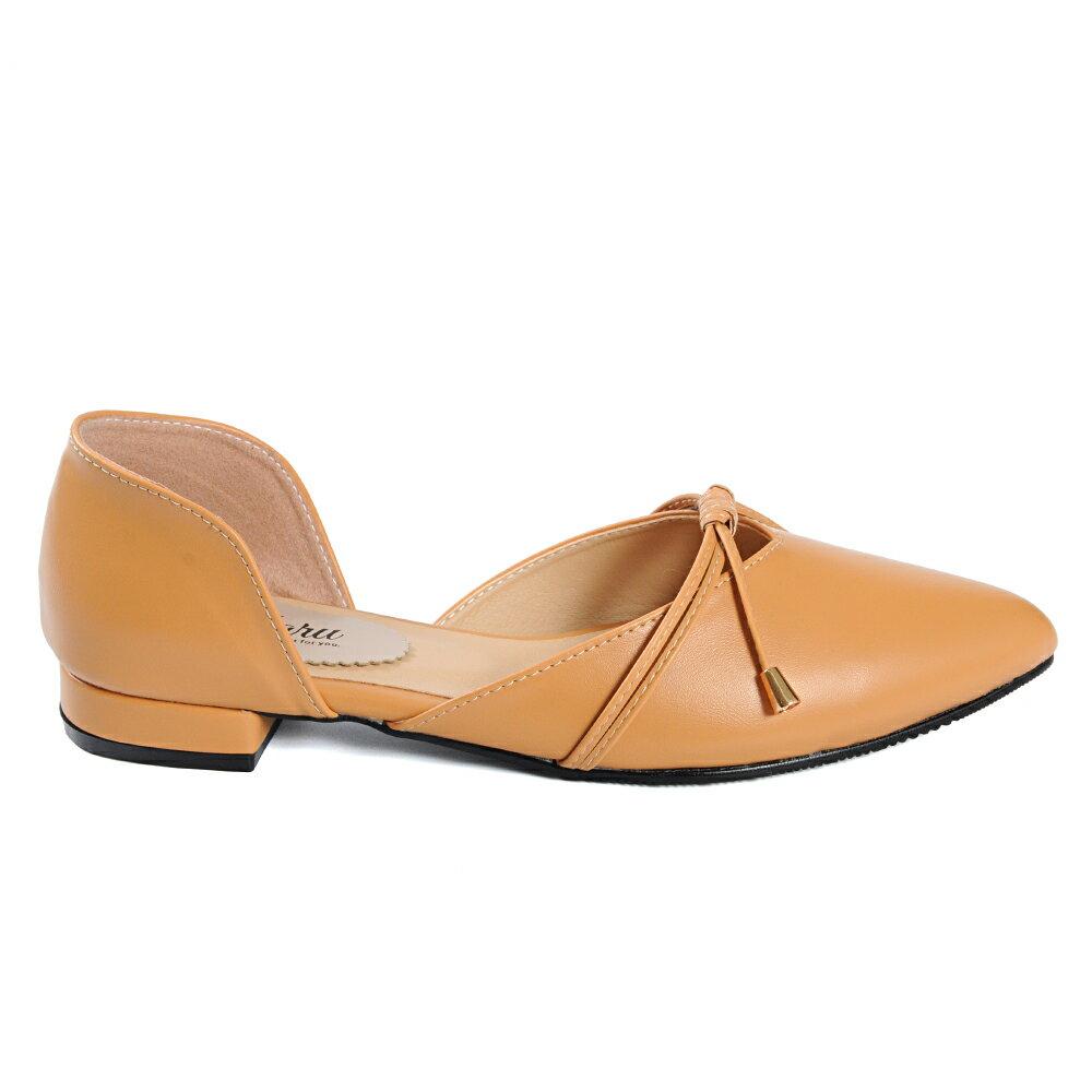 尖頭鞋 日系綁結側簍空低跟鞋-淺棕