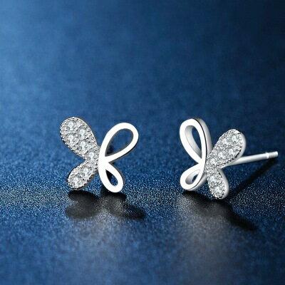 ~925純銀耳環鑲鑽耳飾~精緻鏤空蝴蝶 生日情人節 女飾品73hk2~ ~~米蘭 ~