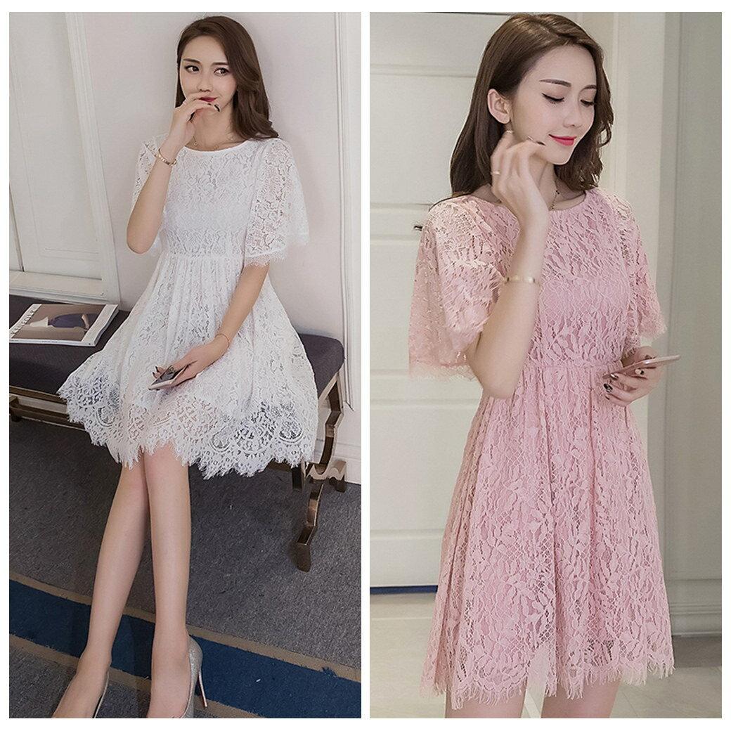 優雅圓領蕾絲摟空縮腰素色簡約連衣裙