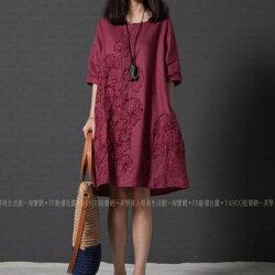 換季特賣 棉麻衫 洋裝 長版上衣 連衣裙 五分袖 連衣裙 ~ 美學達人1009