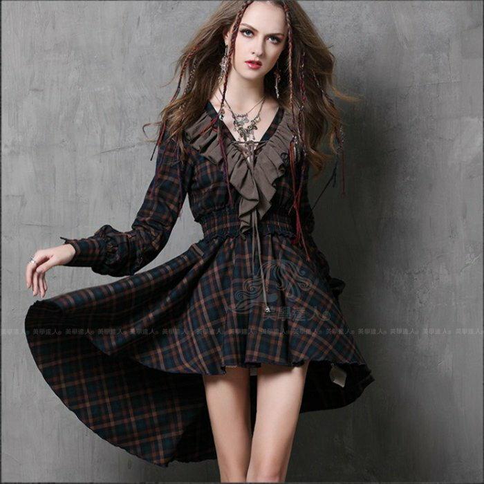 波希米亞洋裝連身裙荷葉邊V領復古格紋拼接不規則短裙長袖秋裝桔藍褐色棉質中腰顯瘦精品設計師款女裝連衣裙~美學達人A6537