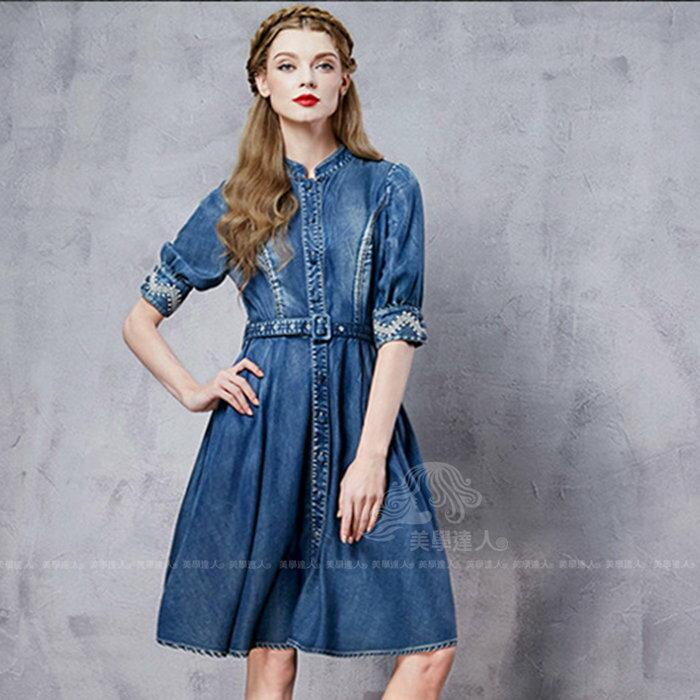 牛仔洋裝波希米亞連身裙單寧風衣連衣裙復古刺繡腰帶立領水洗藍異國民族風顯瘦分泡泡袖做舊拼接棉質繡花~美學達人A8129