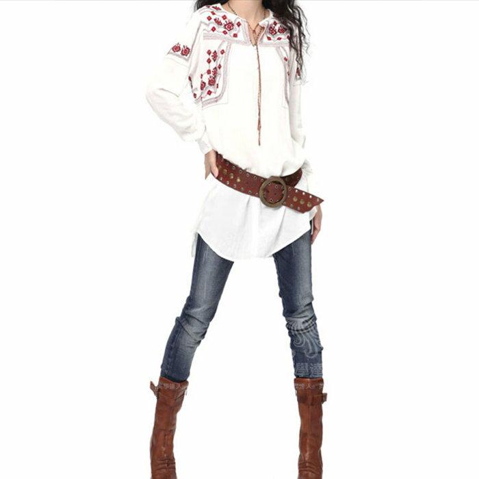 棉麻 長版襯衫 中大尺碼 白色襯裙 長袖洋裝 連衣裙 民俗風 長版上衣 華麗刺繡襯衫 ~美學達人B9019 1