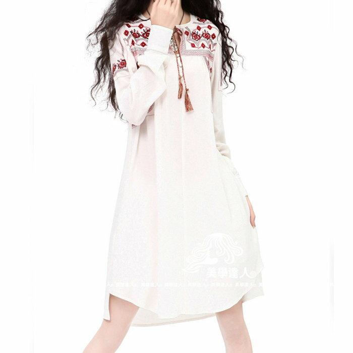 棉麻 長版襯衫 中大尺碼 白色襯裙 長袖洋裝 連衣裙 民俗風 長版上衣 華麗刺繡襯衫 ~美學達人B9019 2