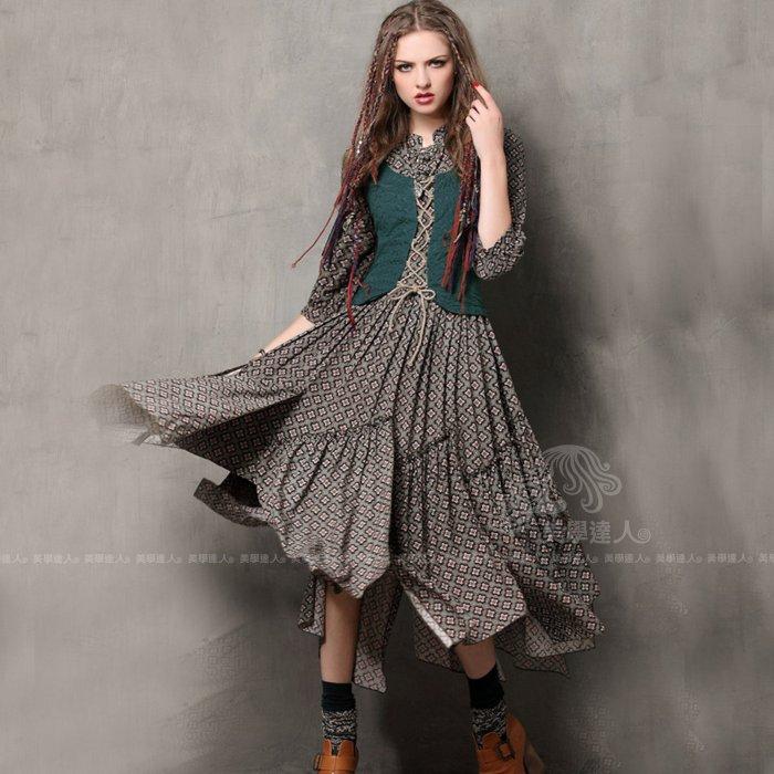 波希米亞假兩件洋裝連衣裙連身裙復古墨綠色不規則大擺裙立領七分袖拼接刺繡印花棉質中腰洋裝~美學達人A6526