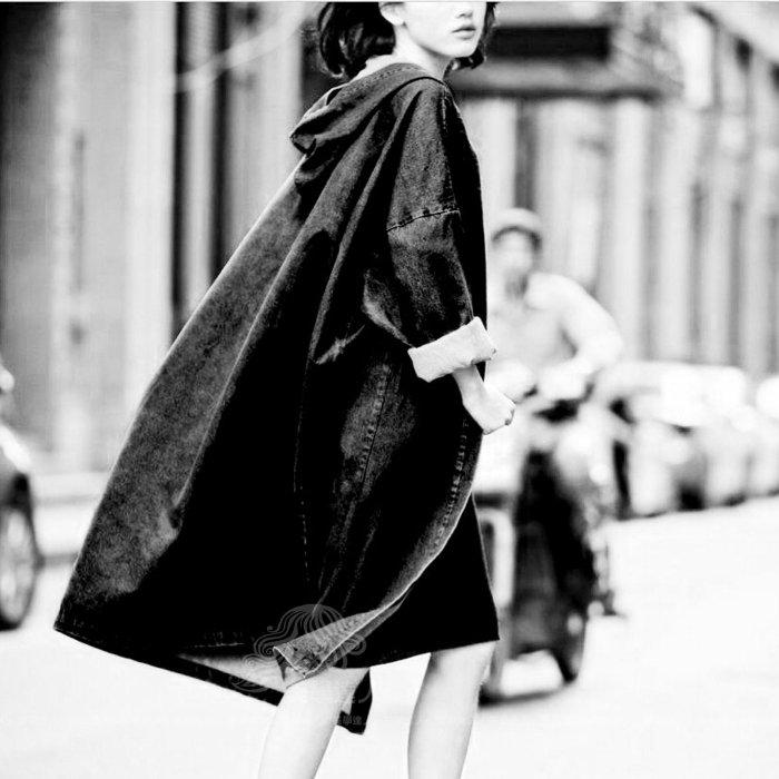 黑色深藍色連帽風衣牛仔外套披風大衣開衫外套蝙蝠袖棉質直筒大衣長袖無腰帶丹寧風衣~美學達人117168