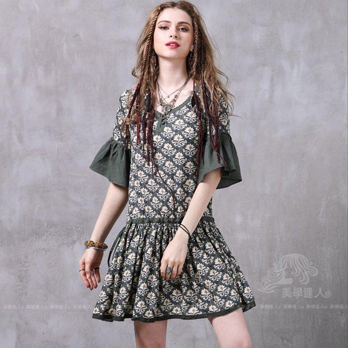 綠色棉麻洋裝連衣裙連身裙長版上衣波希米亞民族風抽繩蕾絲大擺裙短裙荷葉袖喇叭袖圓領中腰短袖精品女裝~美學達人A8222