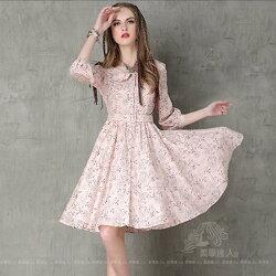 粉色洋裝小禮服娃娃領連身裙連衣裙棉質印花大擺裙中袖收腰百褶裙高腰五分袖復古碎花長版上衣洋裝~美學達人A8109
