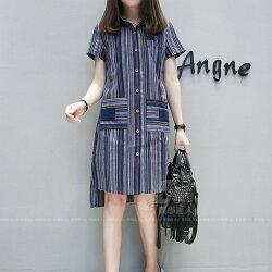彩色條紋襯衫中大尺碼胖mm顯瘦長版上衣連衣裙連身裙藍紫灰色條紋polo領短袖襯衫領棉類混紡女裝上衣~美學達人8402