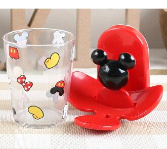 【真愛日本】 17072000005 塑膠杯附架-MK紅 迪士尼 米老鼠 米奇米妮 漱口杯 水杯 杯子 杯架 杯座