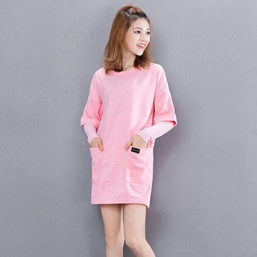 毛線袖拼接假兩件組毛呢連身裙 (2色,M~2XL) - ORead 自由風格
