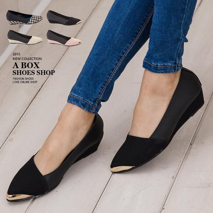 格子舖*【KTDWP3110】MIT台灣製 女神款 皮革拼接質感蕾絲提花布 金屬鞋頭 楔型包鞋 5色 0
