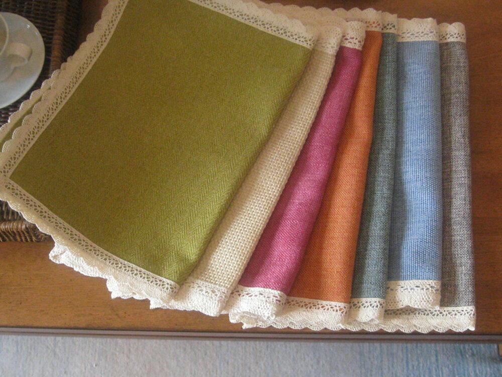 歐式時尚全棉麻隔熱防滑墊 雙面桌墊餐墊 杯墊 餐巾大 (四入)