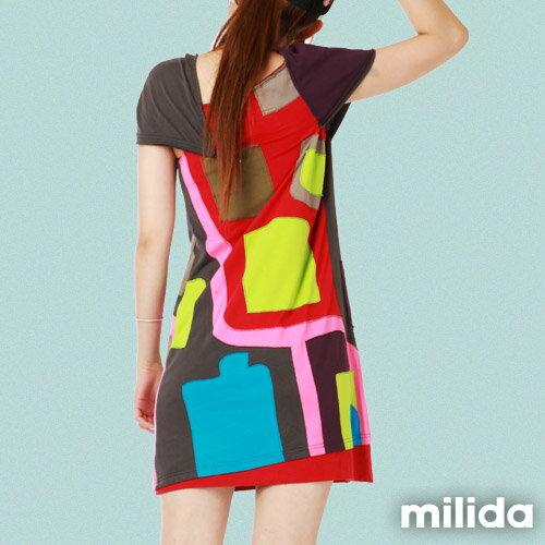 【Milida,全店七折免運】不對稱袖子設計洋裝 2