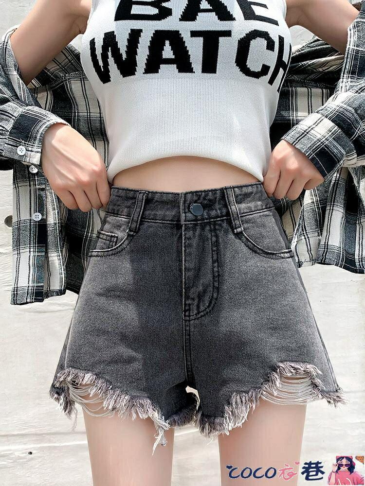 牛仔短褲 2021年夏季新款牛仔短褲女高腰顯瘦大碼寬鬆百搭闊腿a字熱褲潮
