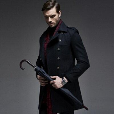 ☆毛呢外套 雙排扣大衣-羊毛翻領修身中長款男外套2色72ar2【獨家進口】【米蘭精品】