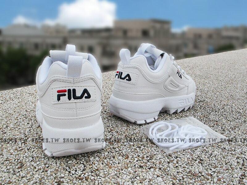 《限量商品》Shoestw【4C113T125】FILA DISRUPTOR 2 復古運動鞋 老爹鞋 鋸齒鞋 厚底增高 皮革 全白 女生 FS1HTA1071X 2