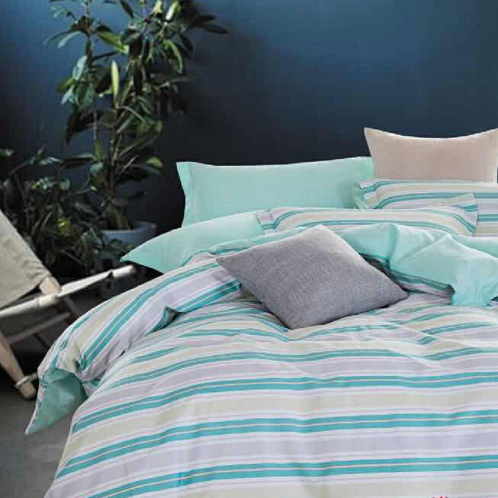 晨映綠芒 雙人100%精梳棉四件式兩用被床包組