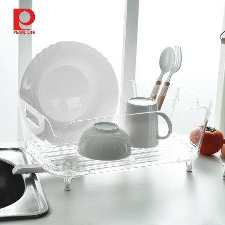 【日本珍珠金屬】壓克力雙向導水式碗盤筷瀝水籃 - 限時優惠好康折扣