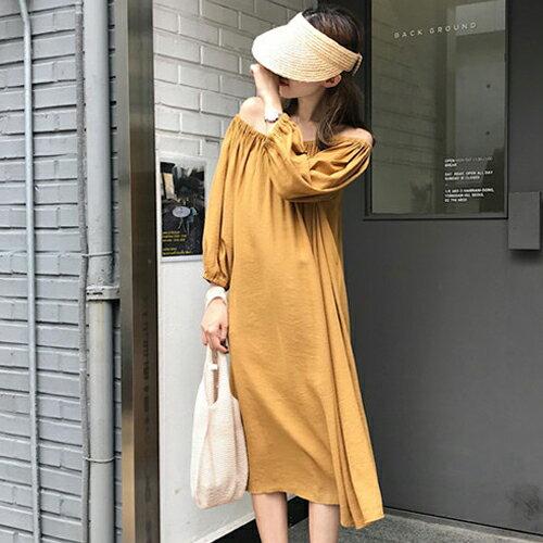PS Mall 一字領露肩連身裙 七分縮口袖洋裝【T705】 0